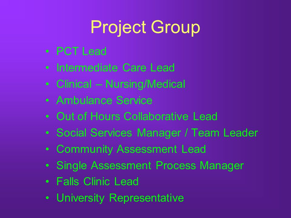Project Group PCT Lead Intermediate Care Lead Clinical – Nursing/Medical Ambulance Service Out of Hours Collaborative Lead Social Services Manager / Team Leader Community Assessment Lead Single Assessment Process Manager Falls Clinic Lead University Representative