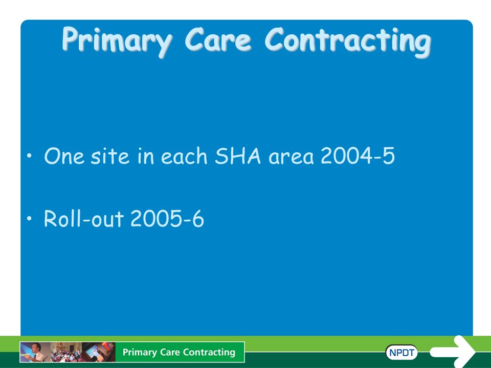 Primary Care Contracting One site in each SHA area 2004-5 Roll-out 2005-6