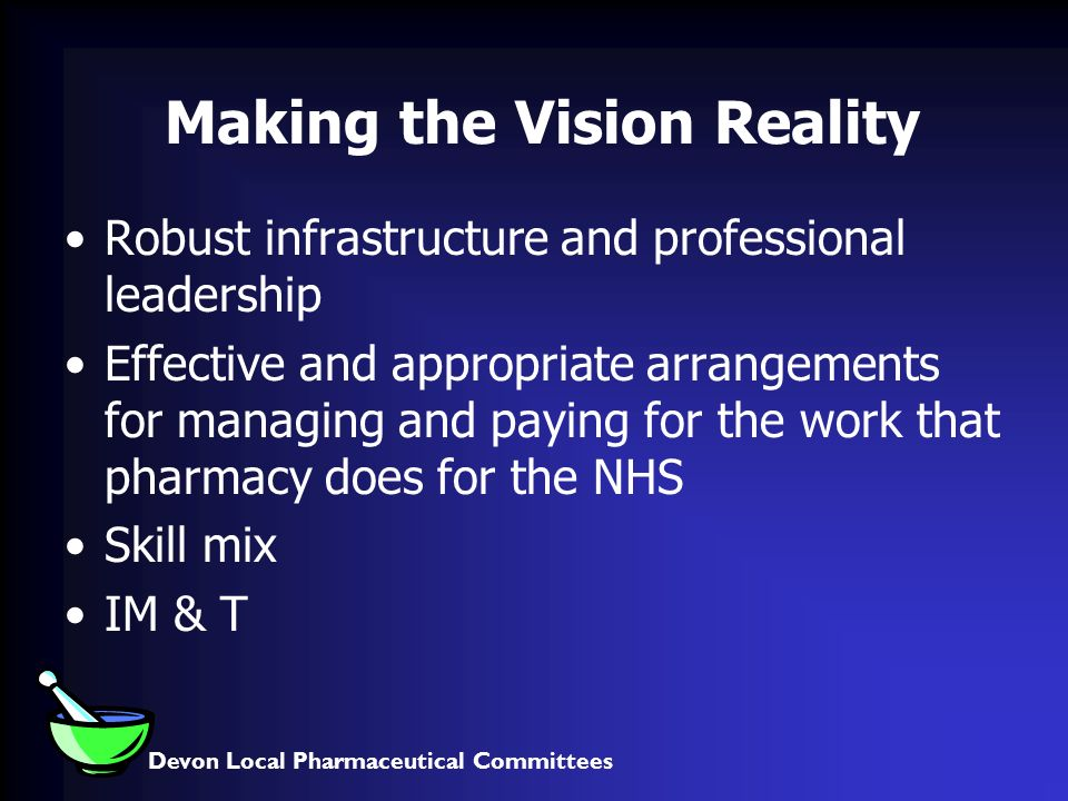 Devon Local Pharmaceutical Committees Making the Vision Reality Robust infrastructure and professional leadership Effective and appropriate arrangements for managing and paying for the work that pharmacy does for the NHS Skill mix IM & T