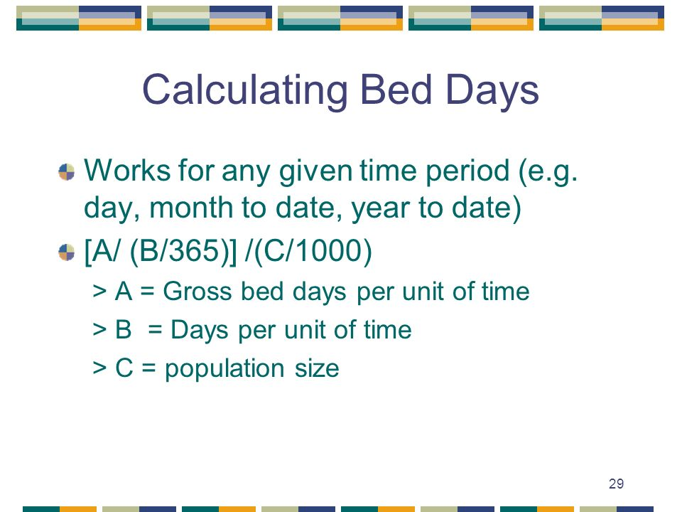 29 Calculating Bed Days Works for any given time period (e.g.