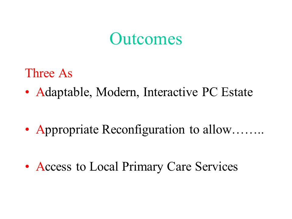 Outcomes Three As Adaptable, Modern, Interactive PC Estate Appropriate Reconfiguration to allow……..