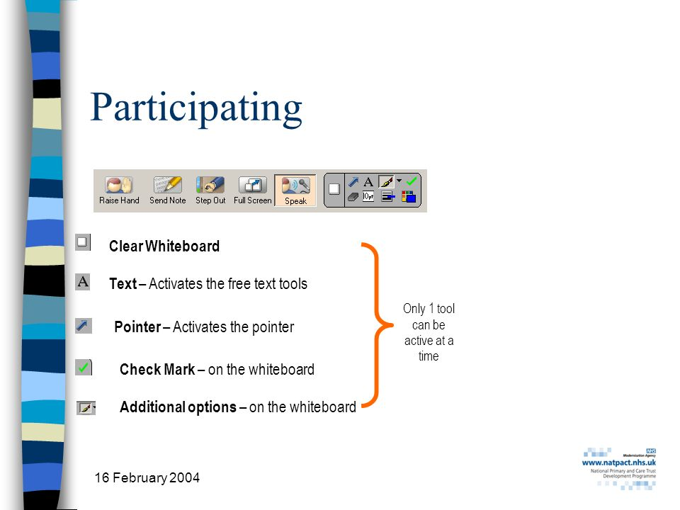 16 February 2004 2 Participating Text – Activates the free text tools Pointer – Activates the pointer Only 1 tool can be active at a time Check Mark – on the whiteboard Additional options – on the whiteboard Clear Whiteboard