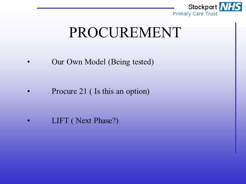 PROCUREMENT Our Own Model (Being tested) Procure 21 ( Is this an option) LIFT ( Next Phase )