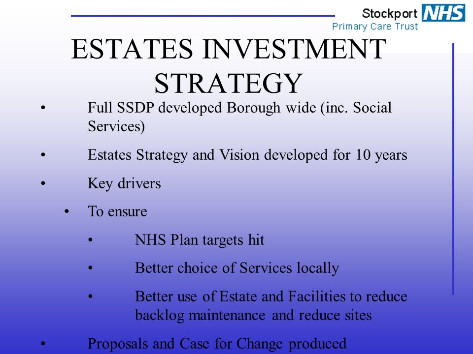 ESTATES INVESTMENT STRATEGY Full SSDP developed Borough wide (inc.