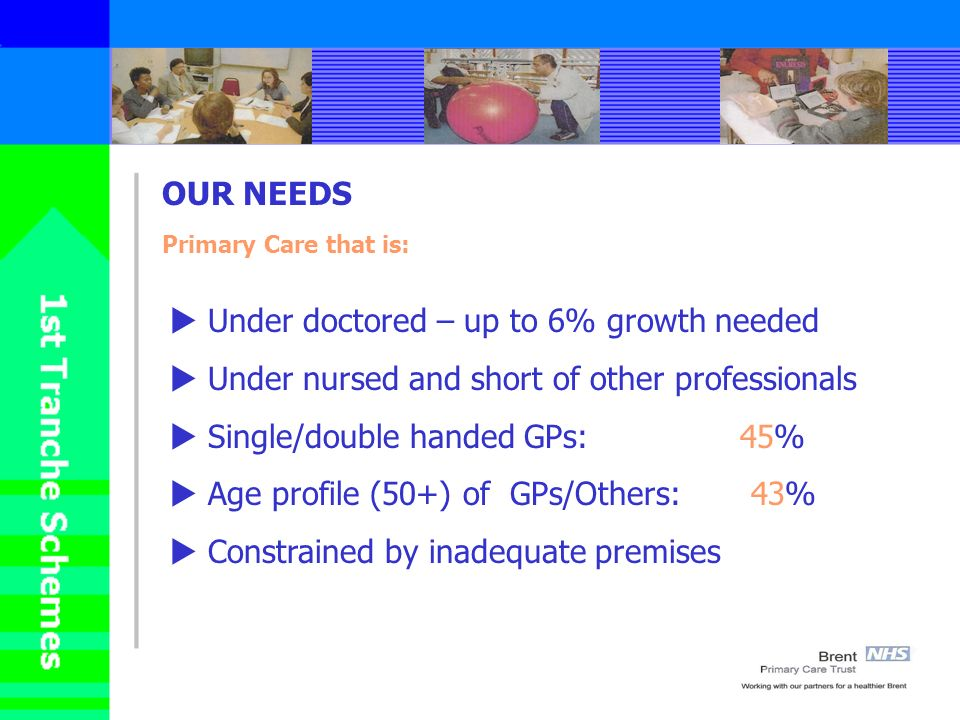 OUR NEEDS Primary Care that is: Under doctored – up to 6% growth needed Under nursed and short of other professionals Single/double handed GPs: 45% Age profile (50+) of GPs/Others: 43% Constrained by inadequate premises