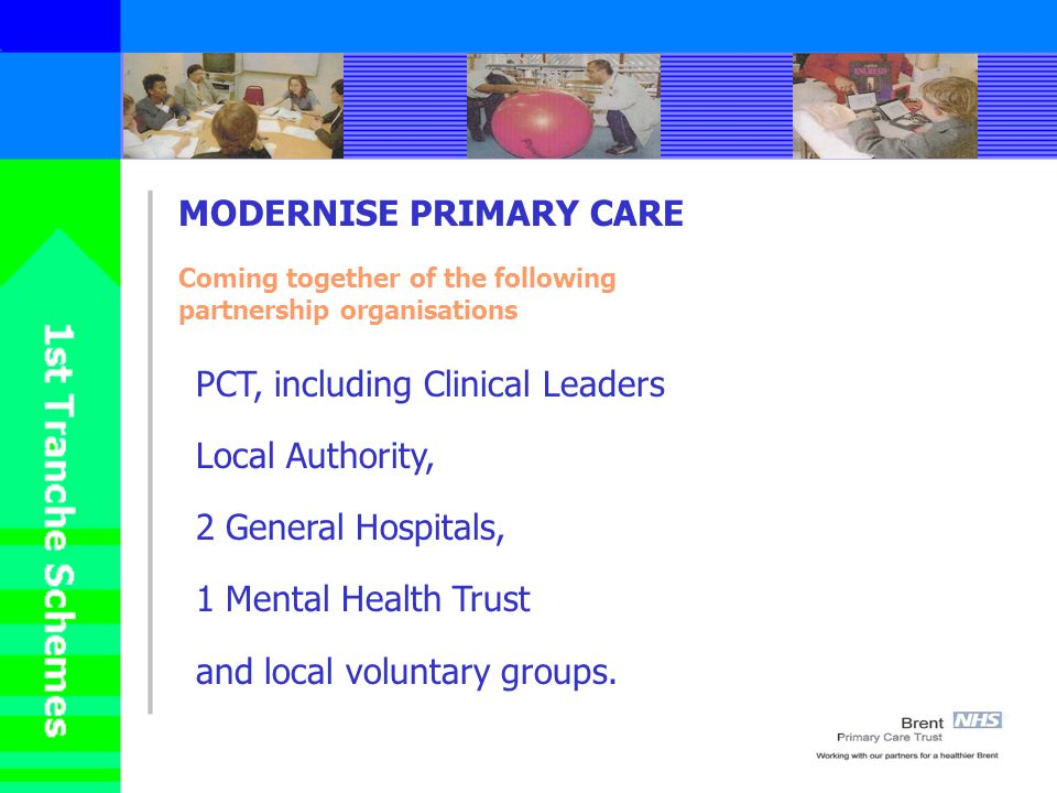 MODERNISE PRIMARY CARE Coming together of the following partnership organisations PCT, including Clinical Leaders Local Authority, 2 General Hospitals, 1 Mental Health Trust and local voluntary groups.