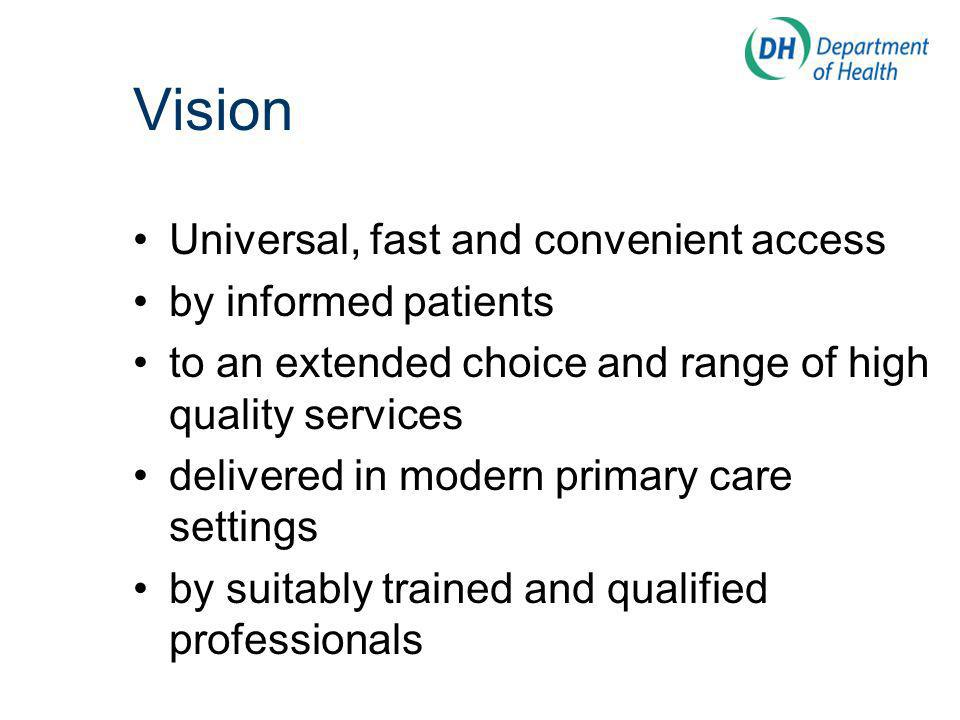 Vision Universal, fast and convenient access by informed patients to an extended choice and range of high quality services delivered in modern primary care settings by suitably trained and qualified professionals