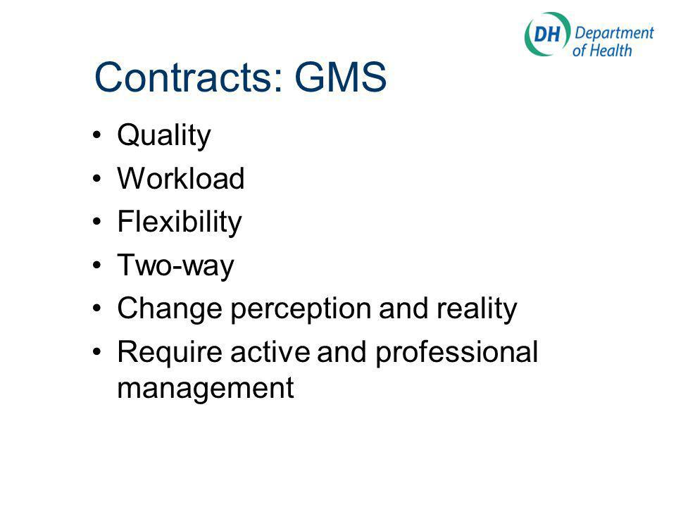 Contracts: GMS Quality Workload Flexibility Two-way Change perception and reality Require active and professional management