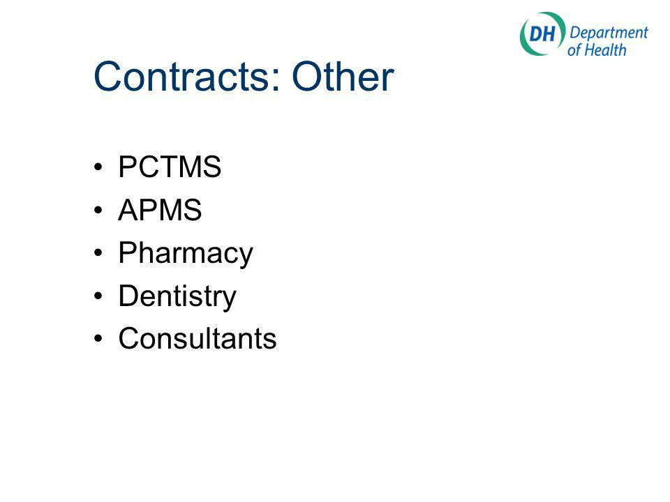 Contracts: Other PCTMS APMS Pharmacy Dentistry Consultants