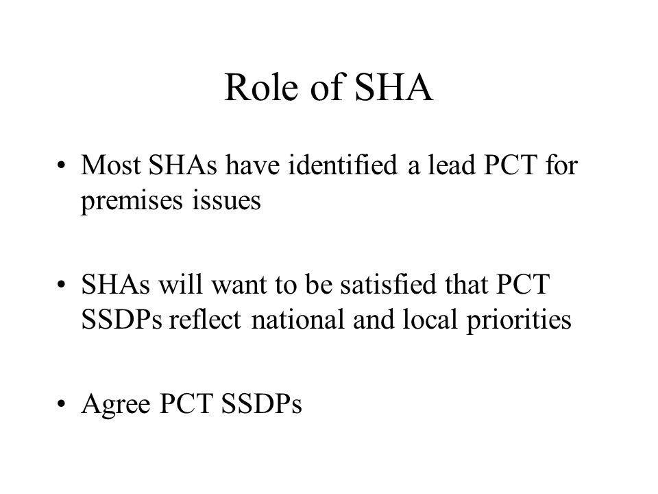 Role of SHA Most SHAs have identified a lead PCT for premises issues SHAs will want to be satisfied that PCT SSDPs reflect national and local priorities Agree PCT SSDPs