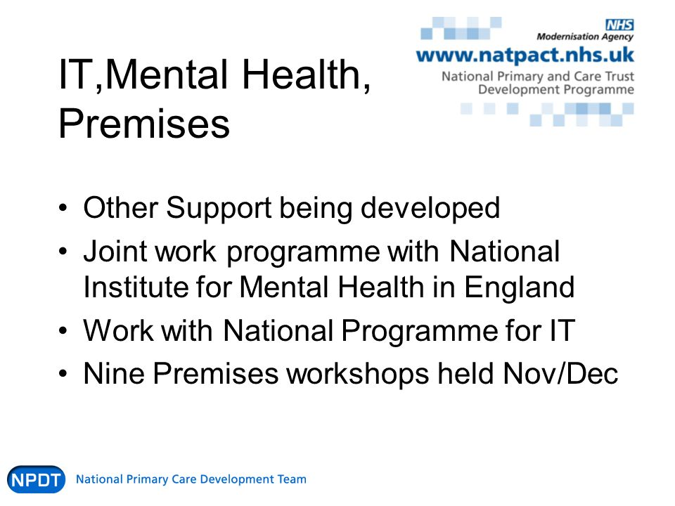 IT,Mental Health, Premises Other Support being developed Joint work programme with National Institute for Mental Health in England Work with National Programme for IT Nine Premises workshops held Nov/Dec