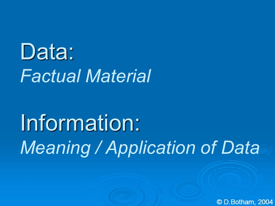 Data: Information: Data: Factual Material Information: Meaning / Application of Data © D.Botham, 2004
