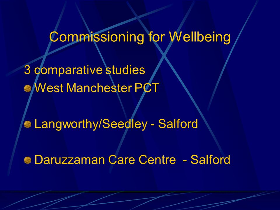 Commissioning for Wellbeing 3 comparative studies West Manchester PCT Langworthy/Seedley - Salford Daruzzaman Care Centre - Salford