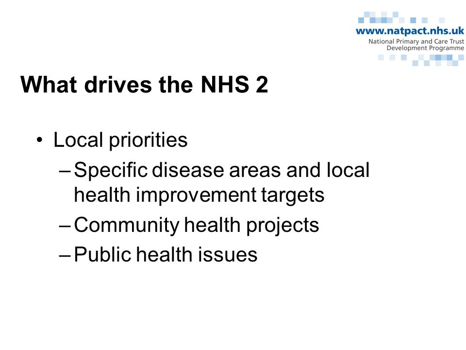 What drives the NHS 2 Local priorities –Specific disease areas and local health improvement targets –Community health projects –Public health issues