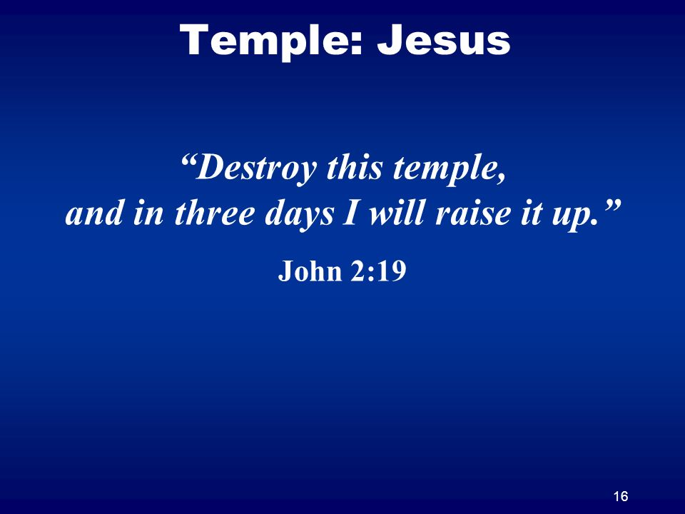 16 Temple: Jesus Destroy this temple, and in three days I will raise it up. John 2:19