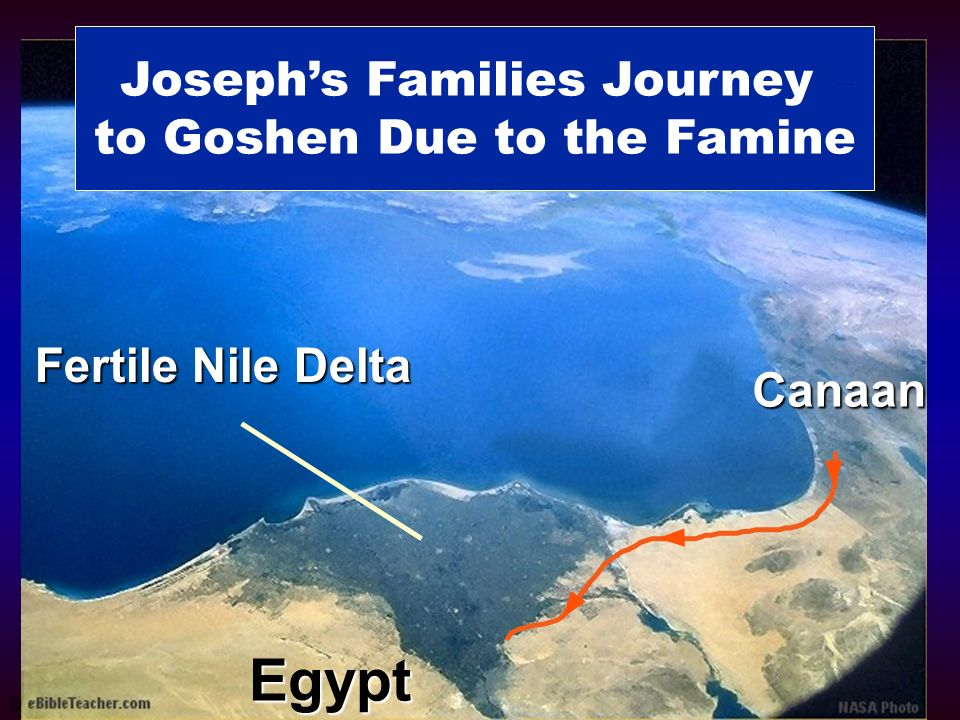 Josephs Families Journey to Goshen Due to the Famine Fertile Nile Delta Egypt Canaan © Josephs Family to Goshen