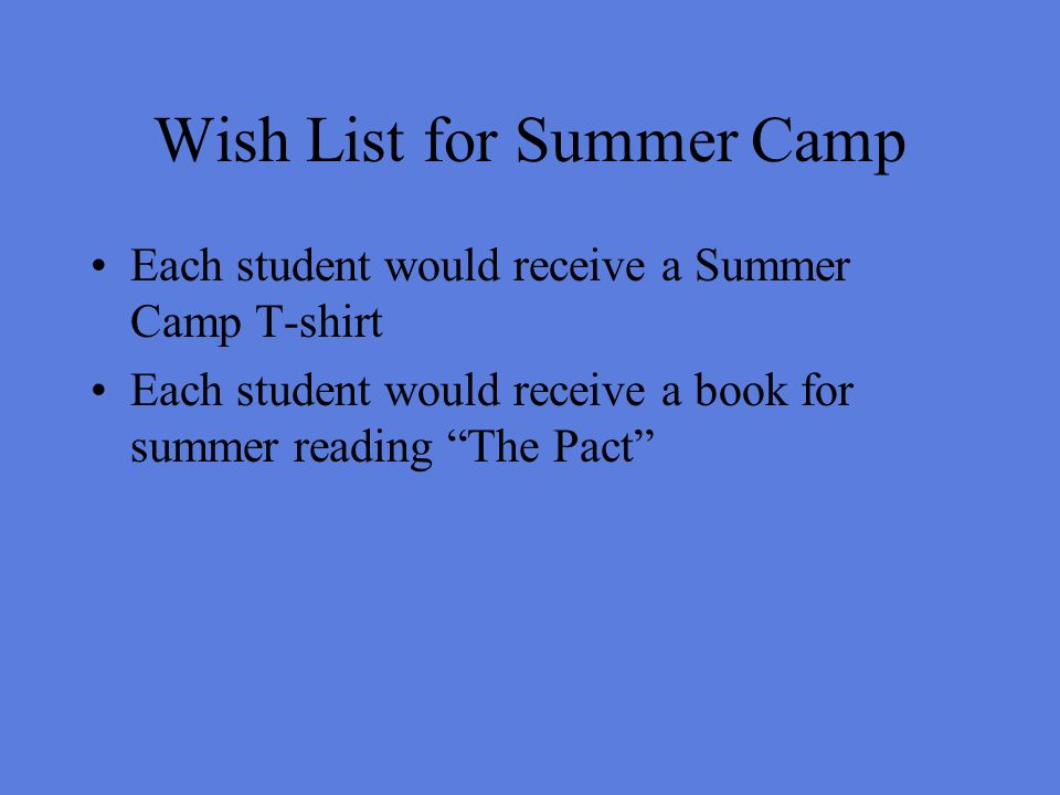 Wish List for Summer Camp Each student would receive a Summer Camp T-shirt Each student would receive a book for summer reading The Pact