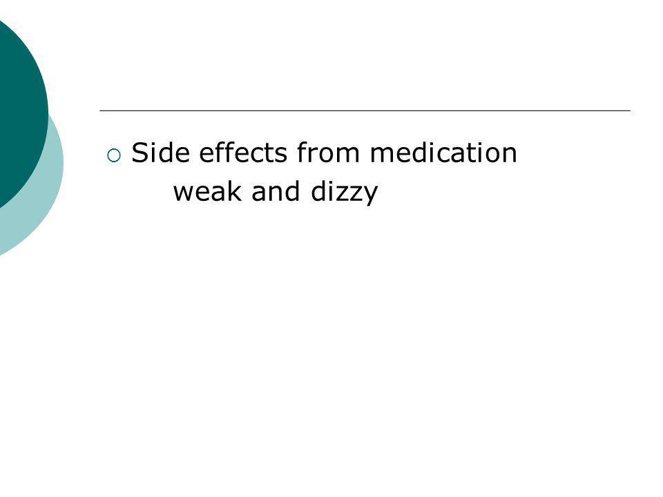 Side effects from medication weak and dizzy