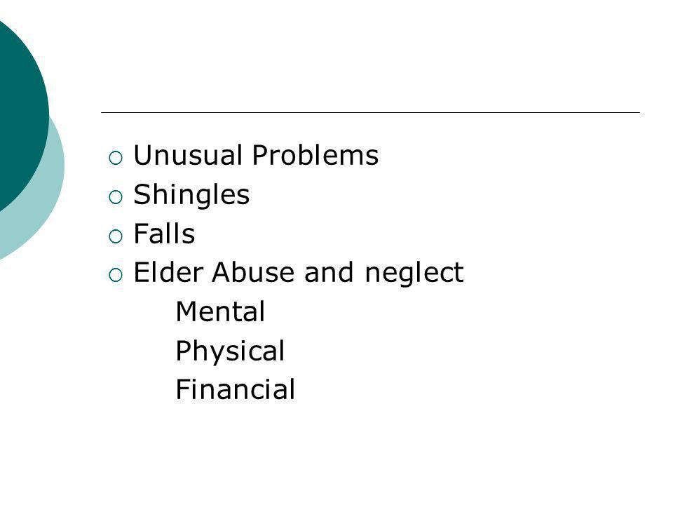Unusual Problems Shingles Falls Elder Abuse and neglect Mental Physical Financial