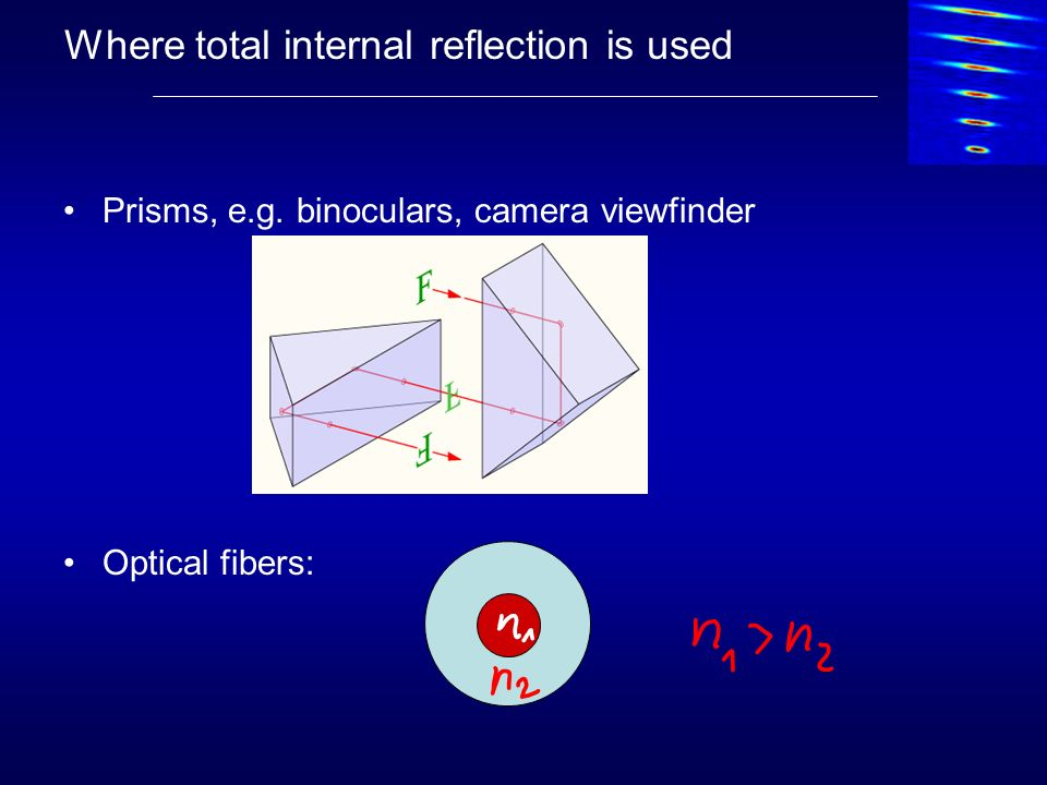 Where total internal reflection is used Prisms, e.g. binoculars, camera viewfinder Optical fibers: