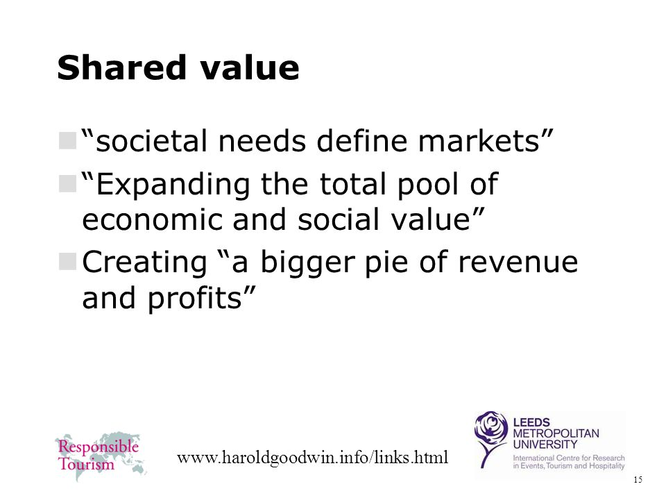 15 www.haroldgoodwin.info/links.html Shared value societal needs define markets Expanding the total pool of economic and social value Creating a bigger pie of revenue and profits