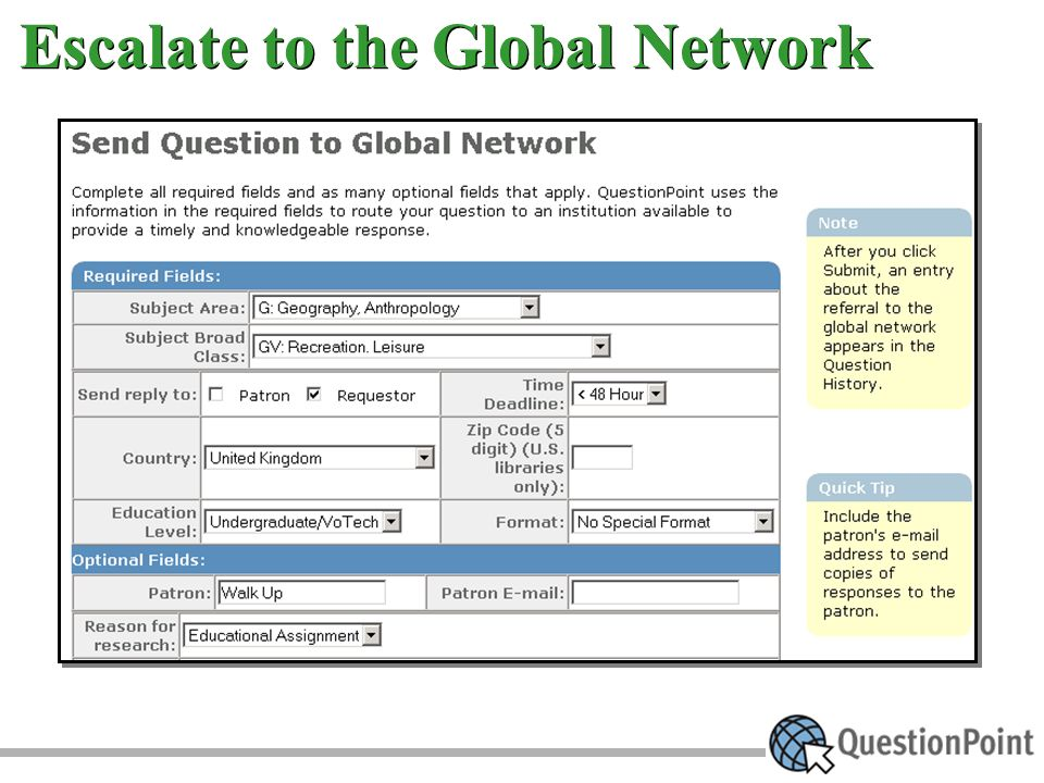 Escalate to the Global Network