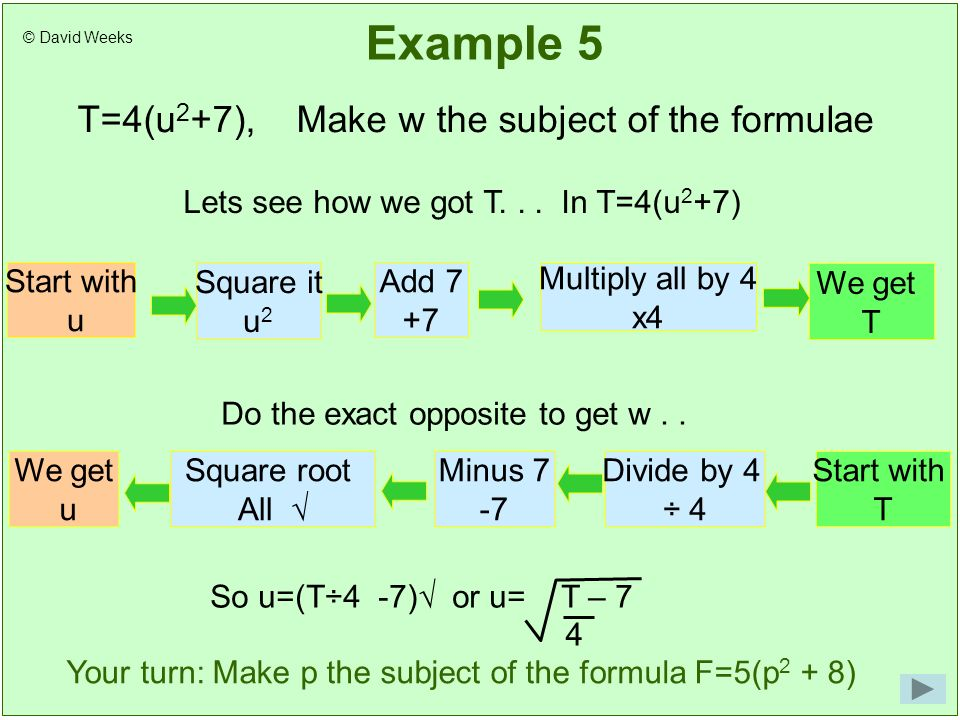 Example 5 T=4(u 2 +7), Make w the subject of the formulae Lets see how we got T...