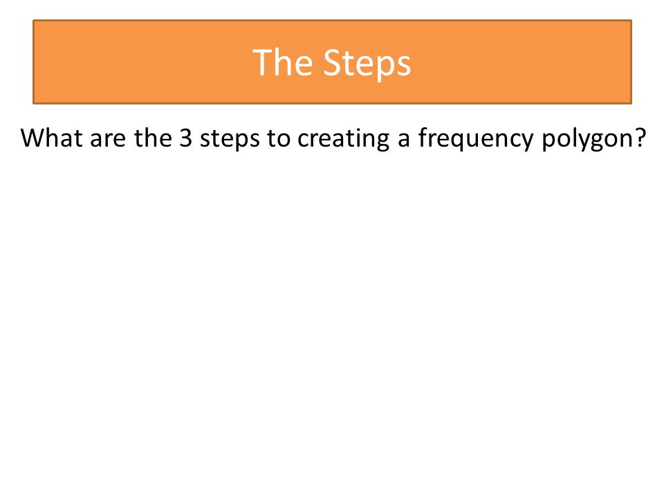 The Steps What are the 3 steps to creating a frequency polygon