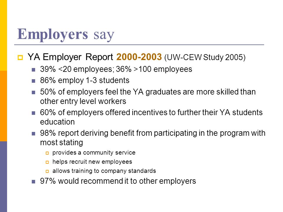 Employers say YA Employer Report 2000-2003 (UW-CEW Study 2005) 39% 100 employees 86% employ 1-3 students 50% of employers feel the YA graduates are more skilled than other entry level workers 60% of employers offered incentives to further their YA students education 98% report deriving benefit from participating in the program with most stating provides a community service helps recruit new employees allows training to company standards 97% would recommend it to other employers
