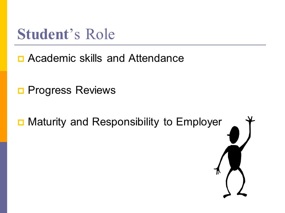 Students Role Academic skills and Attendance Progress Reviews Maturity and Responsibility to Employer