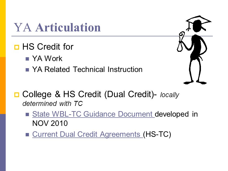 YA Articulation HS Credit for YA Work YA Related Technical Instruction College & HS Credit (Dual Credit)- locally determined with TC State WBL-TC Guidance Document developed in NOV 2010 State WBL-TC Guidance Document Current Dual Credit Agreements (HS-TC) Current Dual Credit Agreements