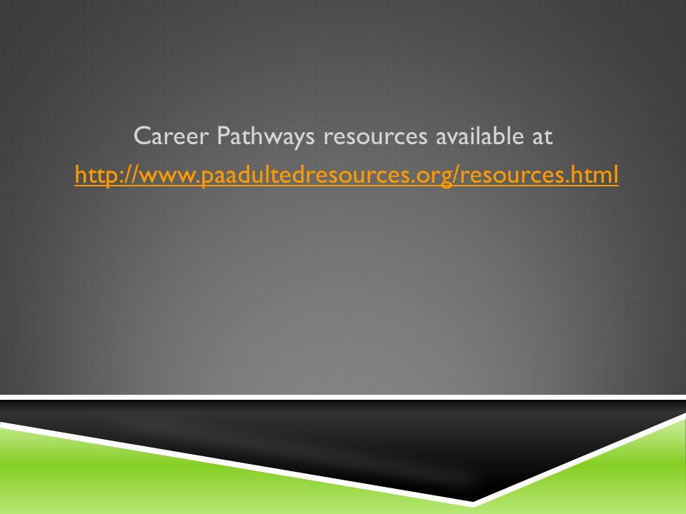 Career Pathways resources available at