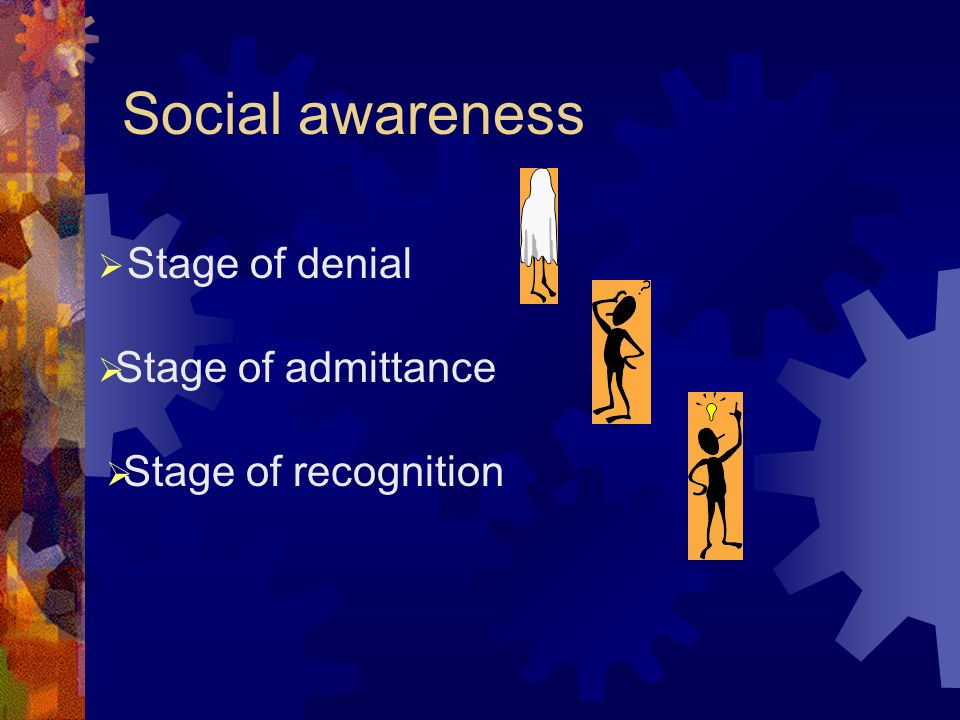 Social awareness Stage of denial Stage of admittance Stage of recognition