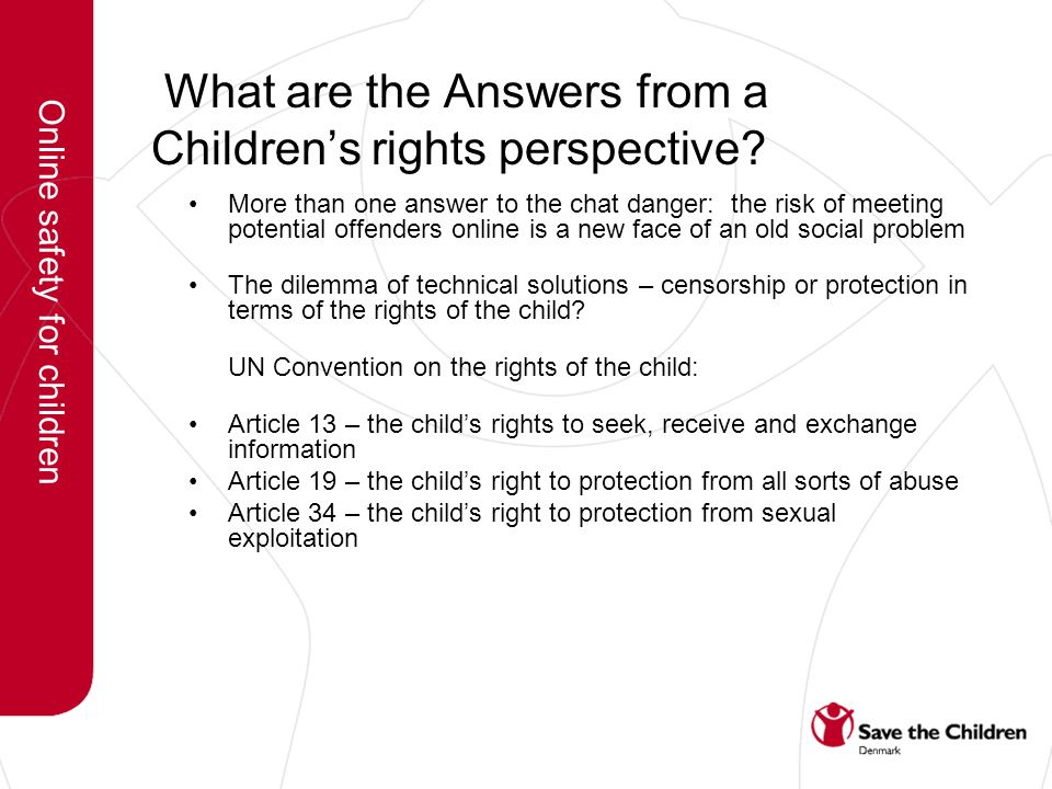 What are the Answers from a Childrens rights perspective.