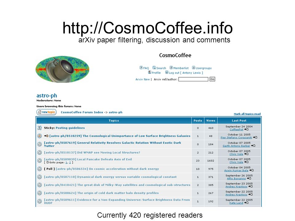 http://CosmoCoffee.info arXiv paper filtering, discussion and comments Currently 420 registered readers