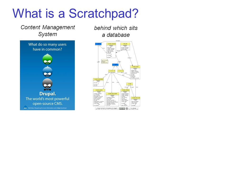 What is a Scratchpad Content Management System behind which sits a database