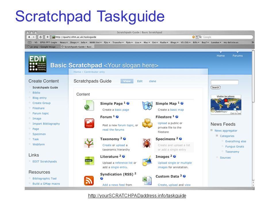 Scratchpad Taskguide http://yourSCRATCHPADaddress.info/taskguide
