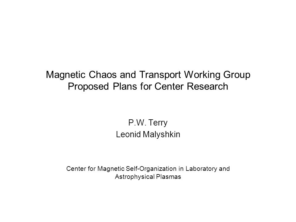 Magnetic Chaos and Transport Working Group Proposed Plans for Center Research P.W.
