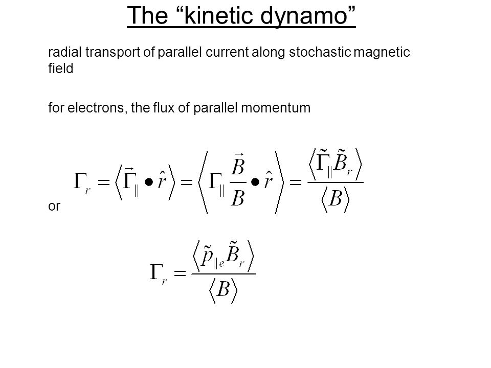 The kinetic dynamo radial transport of parallel current along stochastic magnetic field for electrons, the flux of parallel momentum or