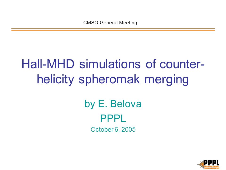 Hall-MHD simulations of counter- helicity spheromak merging by E.