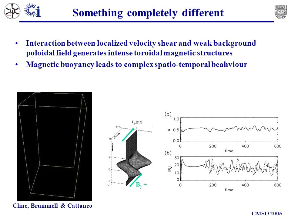 CMSO 2005 Something completely different B y + Interaction between localized velocity shear and weak background poloidal field generates intense toroidal magnetic structures Magnetic buoyancy leads to complex spatio-temporal beahviour Cline, Brummell & Cattaneo