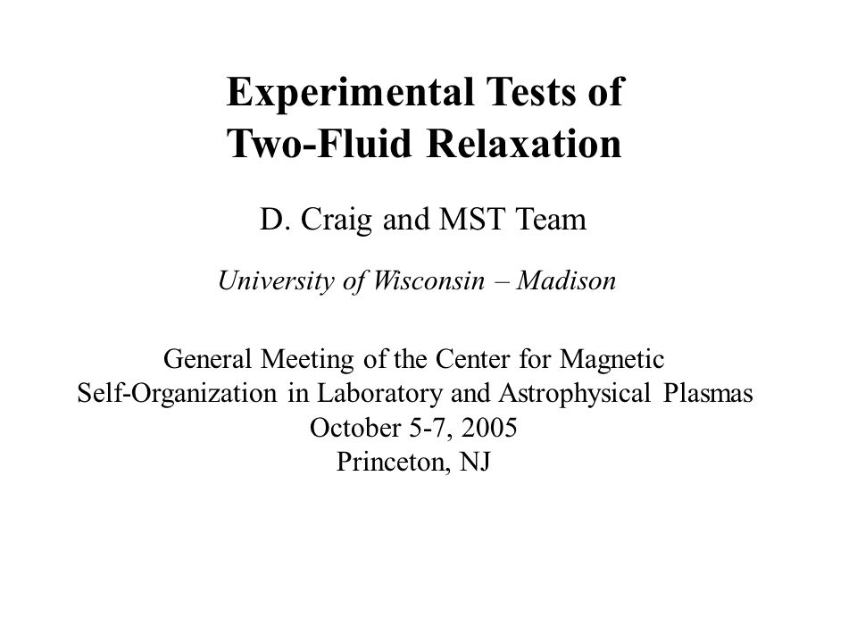 Experimental Tests of Two-Fluid Relaxation D.