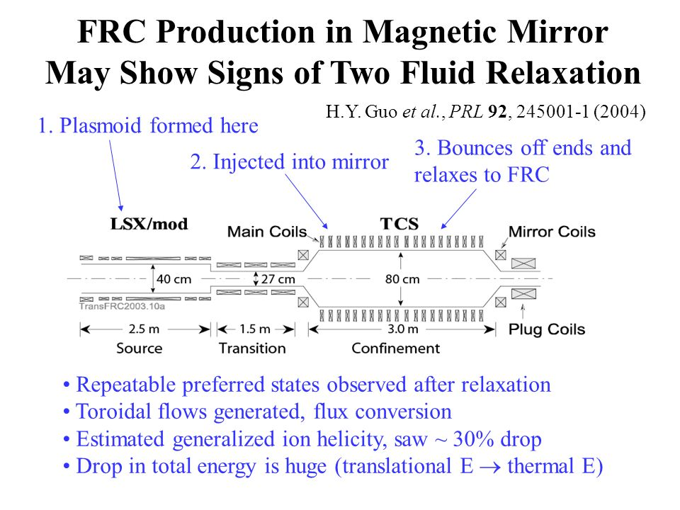 FRC Production in Magnetic Mirror May Show Signs of Two Fluid Relaxation 1.