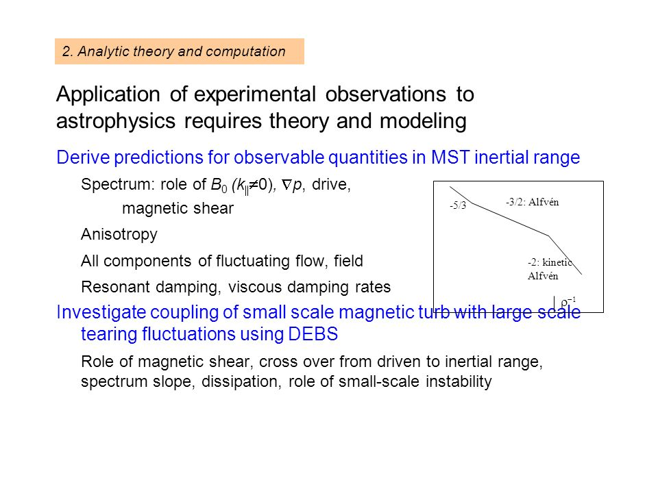 Application of experimental observations to astrophysics requires theory and modeling Derive predictions for observable quantities in MST inertial range Spectrum: role of B 0 (k 0), p, drive, magnetic shear Anisotropy All components of fluctuating flow, field Resonant damping, viscous damping rates Investigate coupling of small scale magnetic turb with large scale tearing fluctuations using DEBS Role of magnetic shear, cross over from driven to inertial range, spectrum slope, dissipation, role of small-scale instability 2.