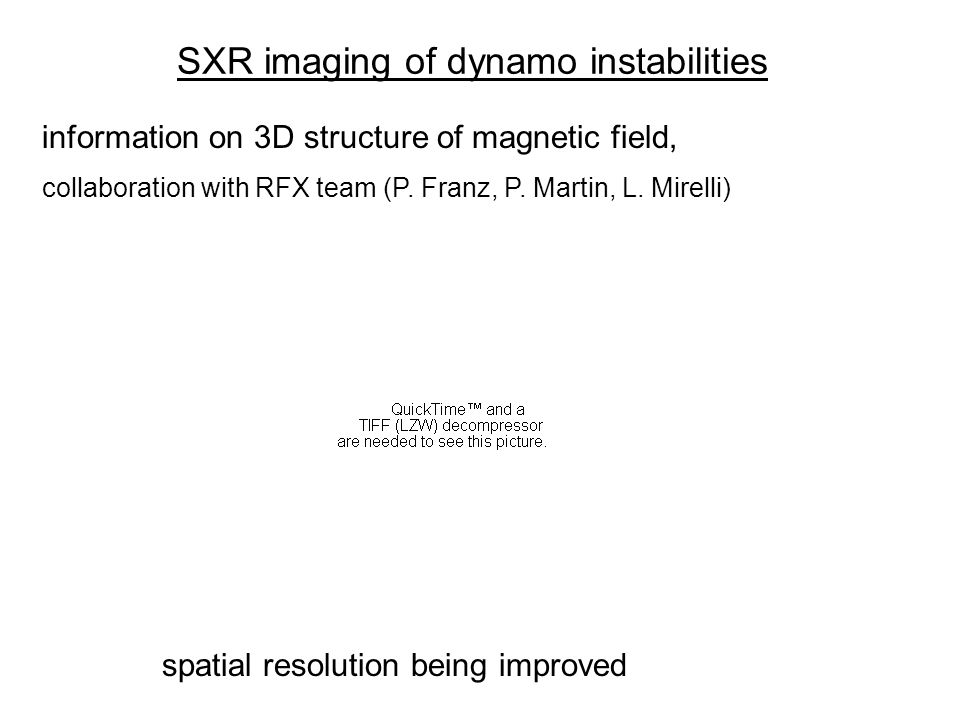 SXR imaging of dynamo instabilities information on 3D structure of magnetic field, collaboration with RFX team (P.