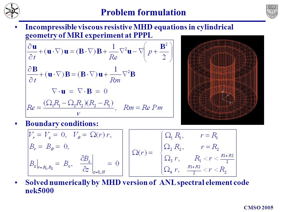 CMSO 2005 Problem formulation Incompressible viscous resistive MHD equations in cylindrical geometry of MRI experiment at PPPL Boundary conditions: Solved numerically by MHD version of ANL spectral element code nek5000