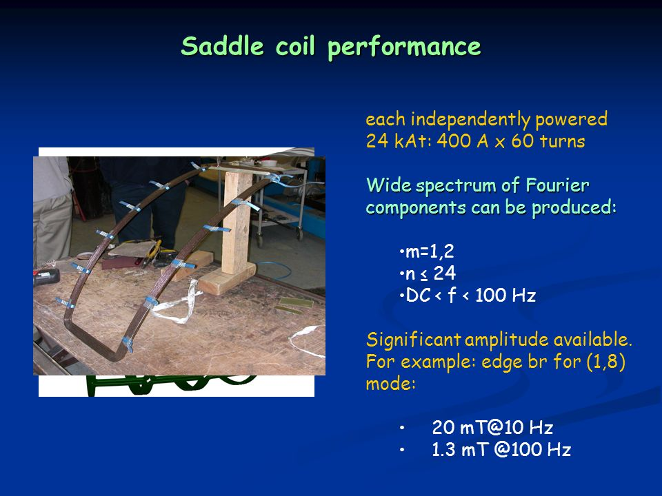Saddle coil performance each independently powered 24 kAt: 400 A x 60 turns Wide spectrum of Fourier components can be produced: m=1,2 n 24 DC < f < 100 Hz Significant amplitude available.