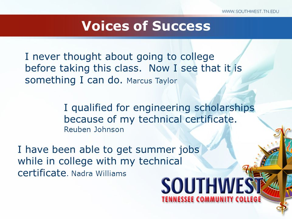 Voices of Success I never thought about going to college before taking this class.