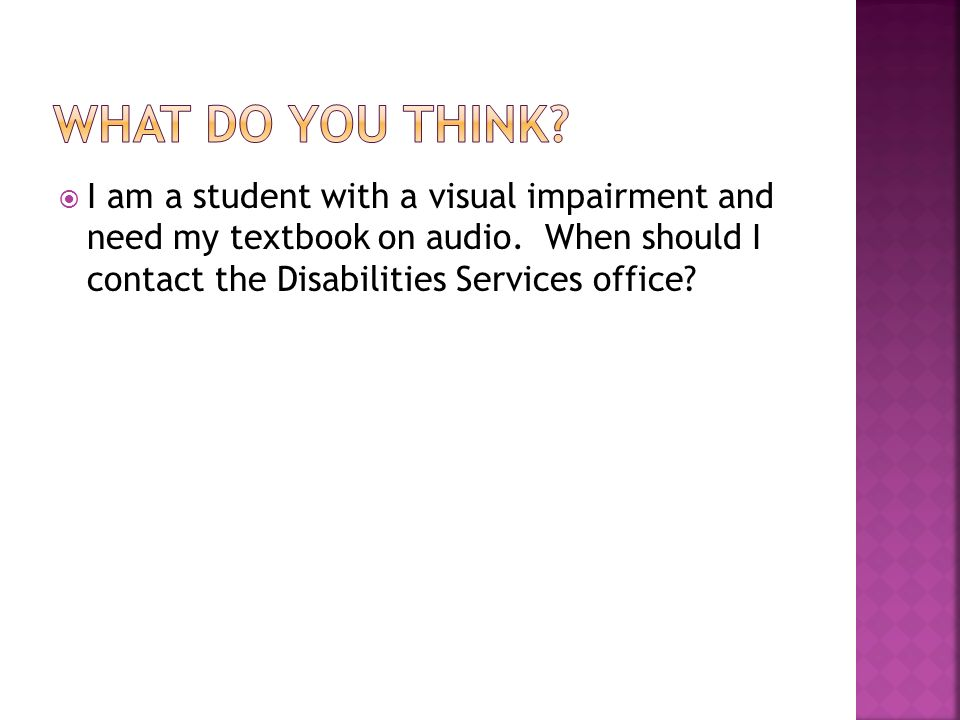 I am a student with a visual impairment and need my textbook on audio.