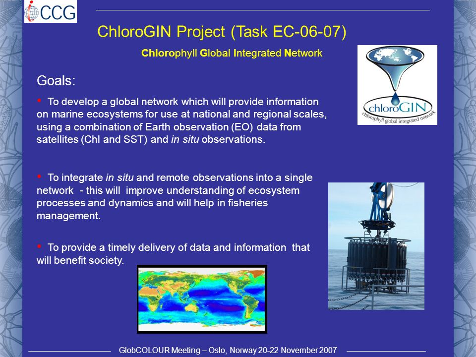 GlobCOLOUR Meeting – Oslo, Norway 20-22 November 2007 ChloroGIN Project (Task EC-06-07) Goals: To develop a global network which will provide information on marine ecosystems for use at national and regional scales, using a combination of Earth observation (EO) data from satellites (Chl and SST) and in situ observations.